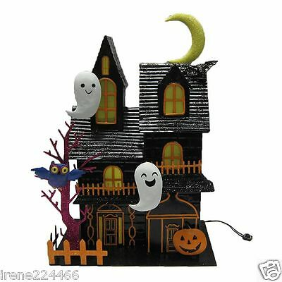 Lighted Metal LED Haunted House Décor Ghost Pumpkin Bat 12x9x5 Battery NWT $40