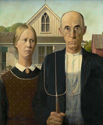 "American Gothic by Grant Wood, Hand Painted Oil Painting Reproduction, 20"" x 24"""