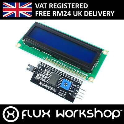 1602 16x2 Blue Module w/Serial Interface IIC/I2C HD44780 Arduino Flux Workshop