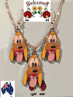 """Brand New 2017 Disneys """"goofy"""" Earrings And Necklace Set Aus Seller 40W"""