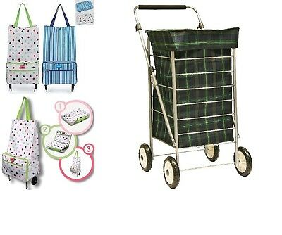 2 / 4 Wheeled Wheel Shopping Trolley Bag Cart Cage Fold Away Storage Water Proof