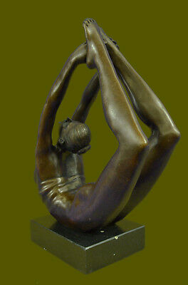 Lost Wax Rare Original Art Deco Sport Gymnast Bronze Sculpture Statue Marble Art