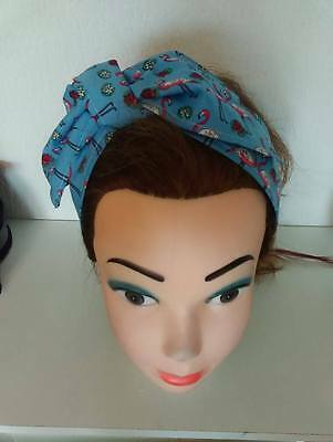 Flamingoes Retro Landgirl Rockabilly 1950's Vintage Style Headscarf Hair Wrap