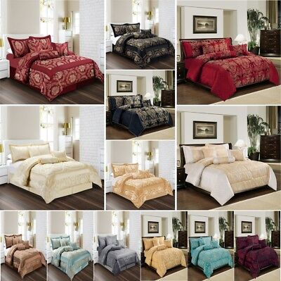 Comforter Set 7 Pc (Piece) Quilted Bedspread Jacquard Bedding Set Top Quality