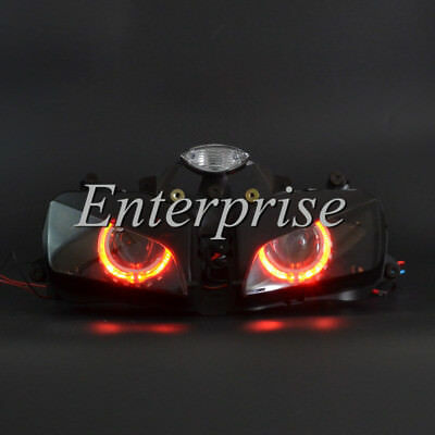 Projector Headlight HID Red Angel Eyes Assembly for Honda CBR 1000RR 04-07 06 05