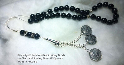 Tasbih Worry Beads Komboloi Black Agate on Chain and Sterling 925 spacers 1697