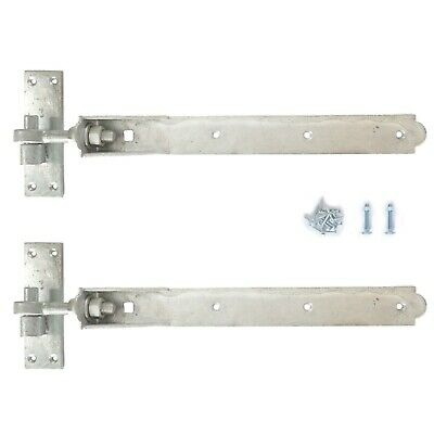 """Adjustable Gate Hinges Pair 10"""" or 12"""" Galv Heavy Duty Hook And Band Stable"""