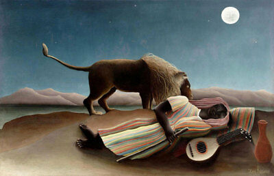 "The Sleeping Gypsy by Henri Rousseau, Oil Painting Art Reproduction, 32"" x 20"""