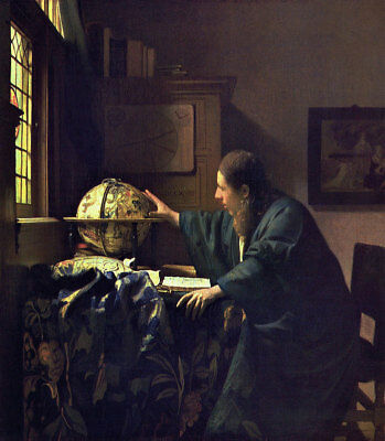 "The Astronomer by Johannes Vermeer Handmade Oil Painting Reproduction, 28"" x 32"""