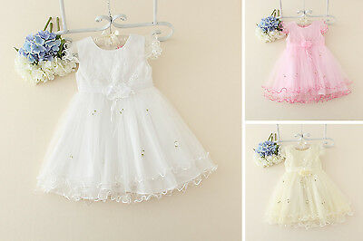 Baby Toddler Girls Kids White Floral Flower Girl Formal Wedding Bridesmaid Party