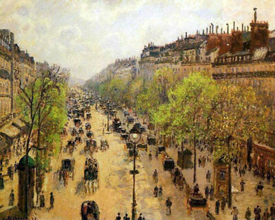 """Boulevard Montmartre Spring by Camille Pissarro, Painting Reproduction 32"""" x 26"""""""
