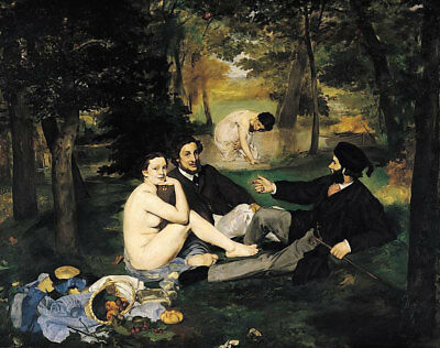 """The Luncheon On The Grass by Edouard Manet, Oil Painting Reproduction, 34"""" x 26"""""""