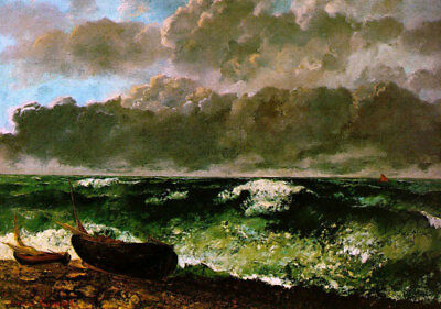 """The Stormy Sea by Gustave Courbet, Seascape Oil Painting Reproduction, 30"""" x 22"""""""
