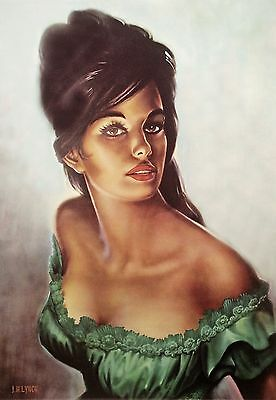 Tina in Green Dress J H Lynch Tretchikoff Era - Vintage Kitsch Art Print Size A4