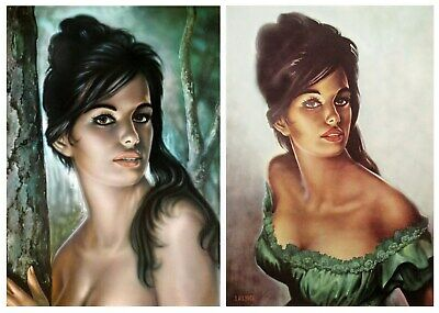 Pair of Tina Prints J H Lynch Tretchikoff Era - Vintage Kitsch Art Print Size A3