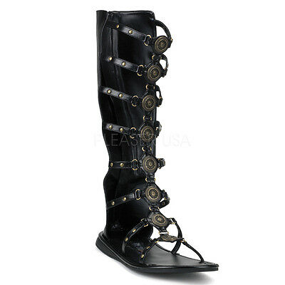 Men's Black Roman Gladiator Halloween Costume Knee Sandals Shoes ROMAN15/B/PU