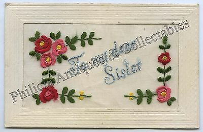 WW1 1918 SILK POSTCARD SENT BY AIF SOLDIER FROM PEEL HOUSE LONDON j85