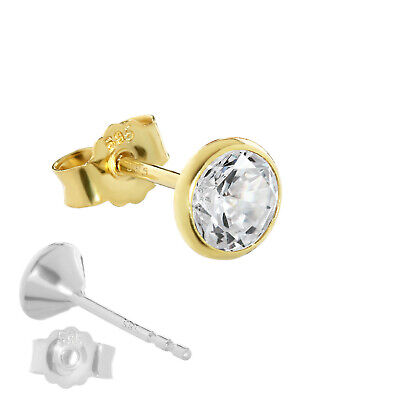 SINGLE Ohrstecker echt Gold 585er 5,5mm Cubic Zirkonia DAMEN HERREN KINDER 1748