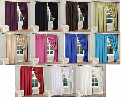 Thermal Insulated Curtains Fully Lined Light Reducing Ready Made In 11 Colours