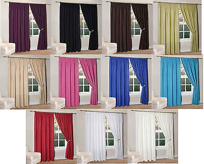 Thermal Insulated Fully Lined Light Reducing Ready Made Curtains In 11 Colours