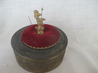 Vintage Red Velvet Stool Figural Poodle round Brass container Pin Cushion