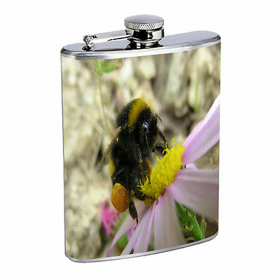 Bee Flask D2 8oz Stainless Steel Honey Swarm BumbleBee Winged Insect Bug