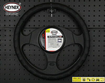 PREMIUM CAR STEERING WHEEL COVER 37-39cm BLACK DOTTED Soft DESIGN from HEYNER®