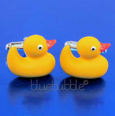 Funky Rubber Ducky Cufflinks Kitsch Duck Cool Dads Gift Novelty Bird Fun Wedding