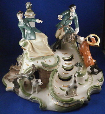 Nymphenburg Porcelain Hunting Centerpiece Group Figure Figurine Porzellan Figur