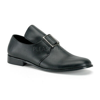 PIL10/B/PU Men's Black Matte Pilgrim Colonial Victorian Halloween Costume Shoes