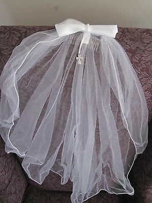 "First communion 25"" veil with silver dangle cross NIB also good for weddings"