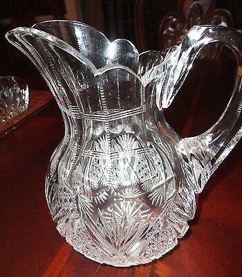 Vintage American Brilliant Cut Glass Heavy Crystal Jug Pitcher 7 1/2""
