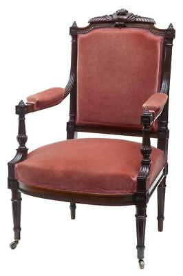 19Th Century French Carved Rosewood Armchair