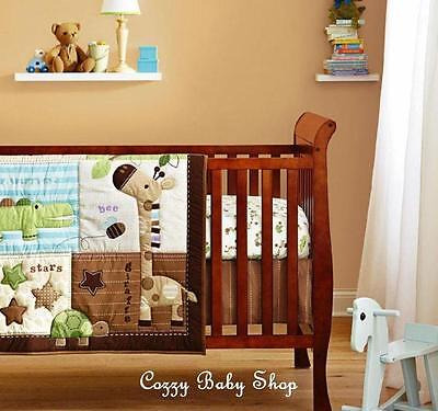 Baby Bedding Set 6pc Cot Crib Nursery Set Quilt Sheet Bumpers Brown Giraffe Star