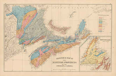Maritime Provinces Geological Antique Map Roe 1878 Original