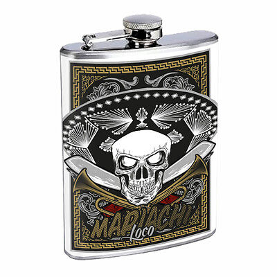 El Mariachi Band Flask D2 8oz Stainless Steel Mexican Musicians Folk Music