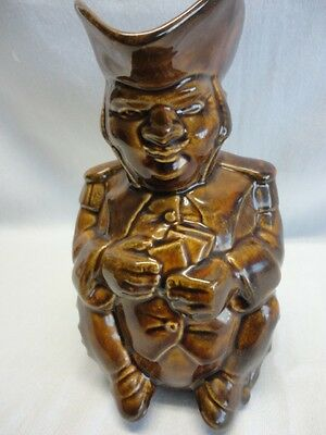 ANTIQUE TOBY MAN PLAYING CARDS BROWN LARGE JUG UNIQUE L@@K