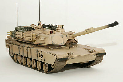 Large Scale RC M1A2 Abrams Tank  Desert Camo, Lights, Sound, Shoots - Hobby Engi