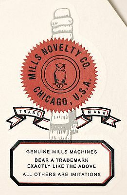 MILLS NOVELTY CO LOGO, SLOT MACHINE, COINOP, WATER SLIDE DECAL # DS 1013
