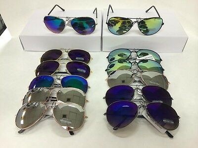 wholesale 12 pairs Aviator metal frame sunglasses wholesale  assorted color