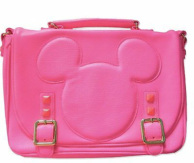 Disney Parks Mickey Minnie Mouse Neon Pink Crossbody Purse Messenger Bag