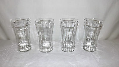 Set of FOUR Vintage Retro Libbey Clear Water Beverage Glasses Tumblers Marked