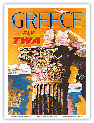 Greece Corinthian Column David Klein TWA Vintage Airline Travel Art Poster Print