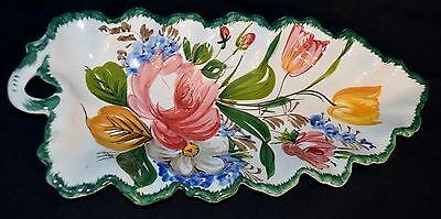 """Large Ceramic Floral Centerpiece Dish Platter Tray Made In Italy Gorgeous 20"""""""