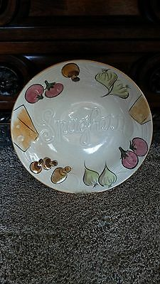 "COLLECTIBLE LOS ANGELES POTTERIES CERMIC 14"" SPAGHETTI PASTA SERVING BOWL 1972"
