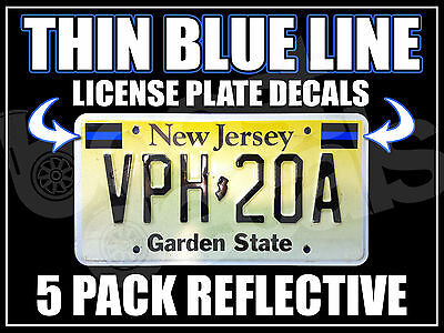 5 PACK THIN BLUE LINE License Plate Decals Stickers Police PBA BLUE LIVES MATTER