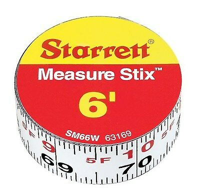 Starrett Measure Stix SM66W Steel White Measure Tape with Adhesive Backing 6'