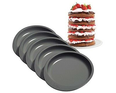 Wilton Cake Pfanne Easy Layers, Backformen 5er Set rund, ca. 15,5 cm, antihaft