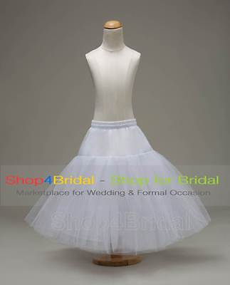 White Flower Girls Hoopless Party Crinoline Petticoat Underskirt Slips Bridal
