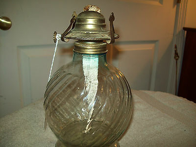 CLEAR GLASS OIL LAMP- HOBNAIL BOWL / LAMPLIGHT FARMS /NO CHIMNEY lamp 104